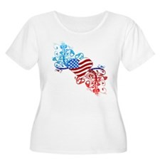 Independence Day Heart Scroll T-Shirt