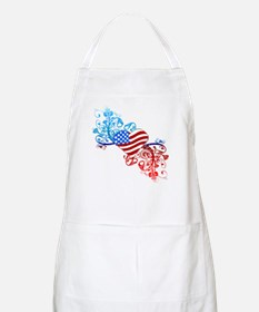 Independence Day Heart Scroll BBQ Apron