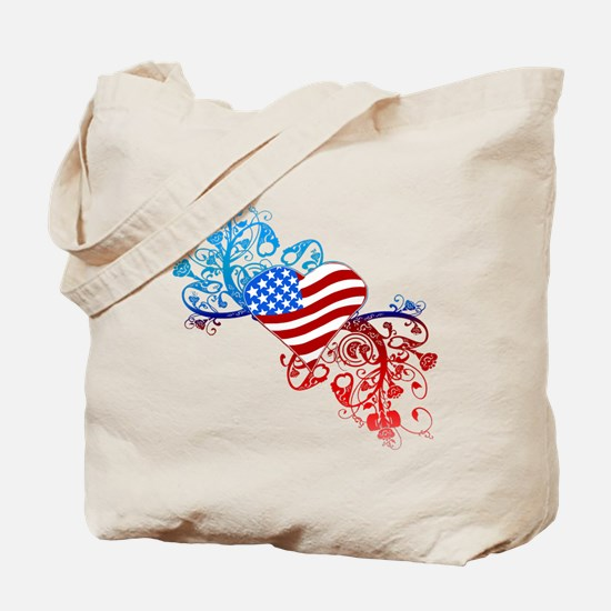 Independence Day Heart Scroll Tote Bag