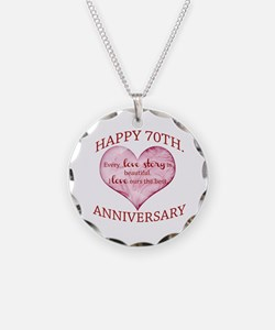 70th. Anniversary Necklace Circle Charm