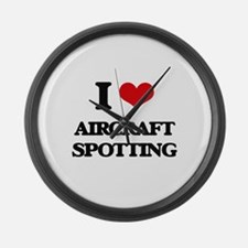 I Love Aircraft Spotting Large Wall Clock