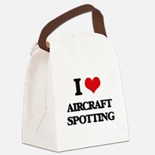 I Love Aircraft Spotting Canvas Lunch Bag