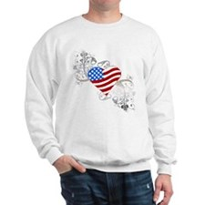 Independence Day Flag Heart Sweatshirt