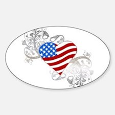 Independence Day Flag Heart Oval Decal