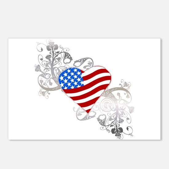 Independence Day Flag Heart Postcards (Package of