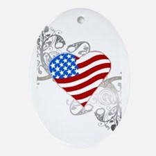 Independence Day Flag Heart Oval Ornament
