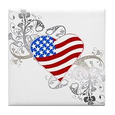 Independence Day Flag Heart Tile Coaster