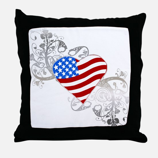Independence Day Flag Heart Throw Pillow