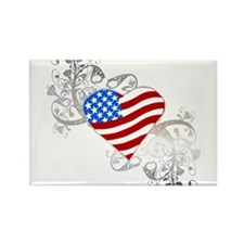 Independence Day Flag Heart Rectangle Magnet (100