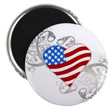 "Independence Day Flag Heart 2.25"" Magnet (10 pack"