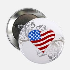 Independence Day Flag Heart Button