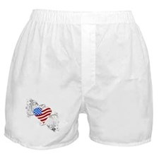 Independence Day Flag Heart Boxer Shorts