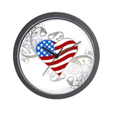 Independence Day Flag Heart Wall Clock