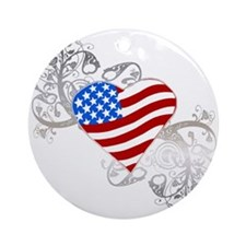 Independence Day Flag Heart Ornament (Round)