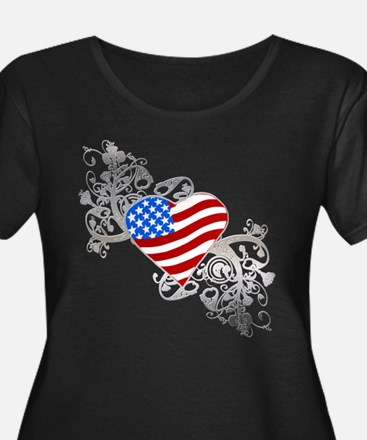 Independence Day Flag Heart T
