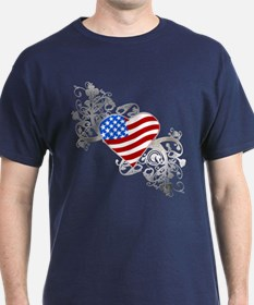 Independence Day Flag Heart T-Shirt