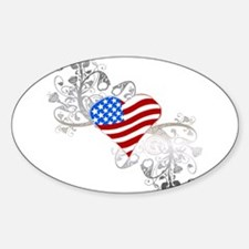 Independence Day Heart Oval Decal