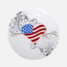Independence Day Heart Ornament (Round)