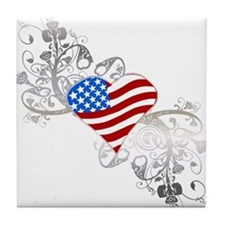 Independence Day Heart Tile Coaster