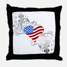 Independence Day Heart Throw Pillow
