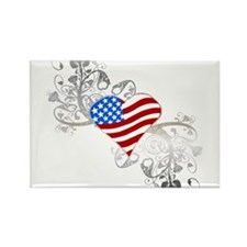 Independence Day Heart Rectangle Magnet