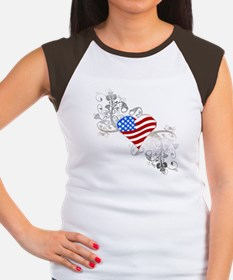 Independence Day Heart Women's Cap Sleeve T-Shirt