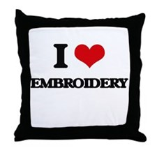 I Love Embroidery Throw Pillow