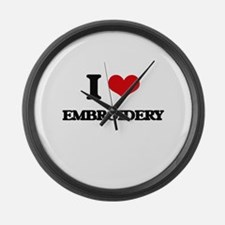 I Love Embroidery Large Wall Clock