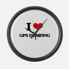 I Love Gps Drawing Large Wall Clock