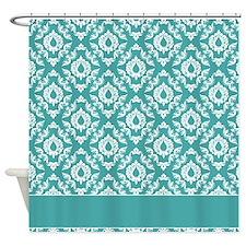 Teal Blue Damask Pattern Shower Curtain 2