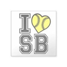 "I LOVE SB Square Sticker 3"" x 3"""