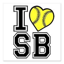 "I LOVE SB Square Car Magnet 3"" x 3"""