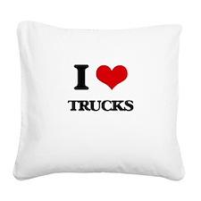 I Love Trucks Square Canvas Pillow