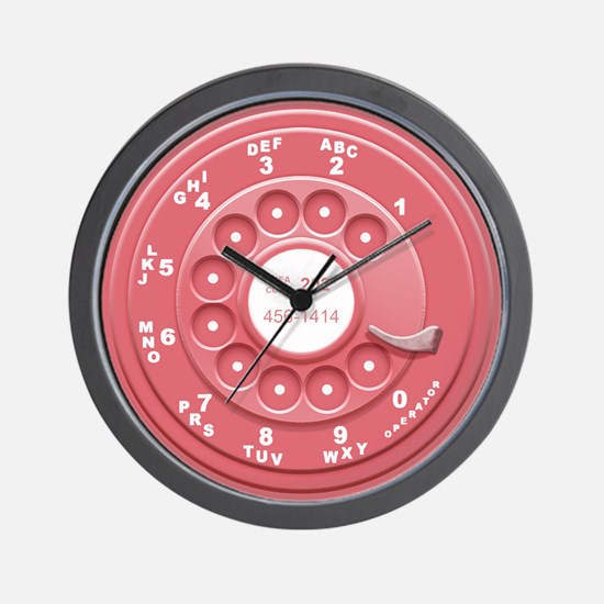 Rotary Faux -Pink Wall Clock