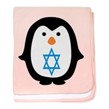 PENQUIN WITH JEWISH STAR baby blanket