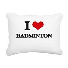 I Love Badminton Rectangular Canvas Pillow