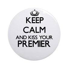 Keep calm and kiss your Premier Ornament (Round)