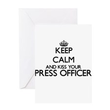 Keep calm and kiss your Press Offic Greeting Cards