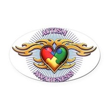 AUTISM TRIBAL HEART5.png Oval Car Magnet