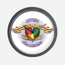 AUTISM TRIBAL HEART5.png Wall Clock