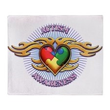 AUTISM TRIBAL HEART5.png Throw Blanket
