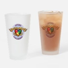 AUTISM TRIBAL HEART5.png Drinking Glass
