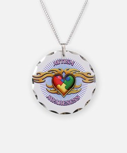 AUTISM TRIBAL HEART5.png Necklace