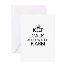 Keep calm and kiss your Rabbi Greeting Cards