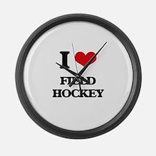 I Love Field Hockey Large Wall Clock