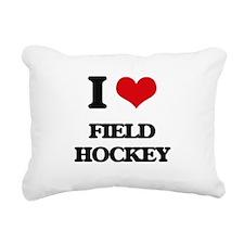 I Love Field Hockey Rectangular Canvas Pillow