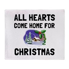 Hearts Come Home For Christmas Throw Blanket