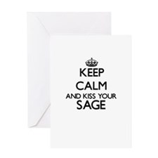 Keep calm and kiss your Sage Greeting Cards