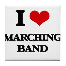 I Love Marching Band Tile Coaster