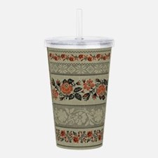 Ukrainian Embroidery Acrylic Double-Wall Tumbler